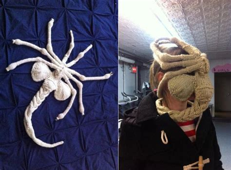 knitted facehugger staying warm a knit facehugger winter mask