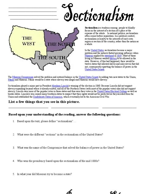 nationalism and sectionalism worksheet microsoft word civil war worksheets