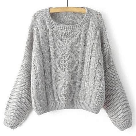 gray knit sweater stylish s neck cable knit sleeve sweater