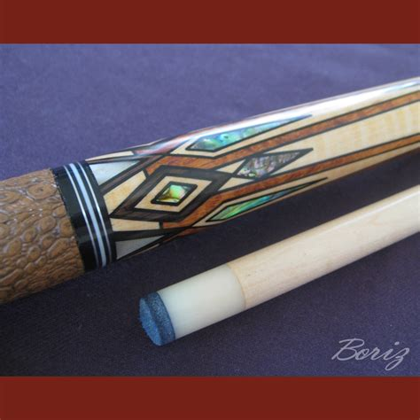 Handmade Pool Cues - boriz billiards brown snake skin leather grip pool cue