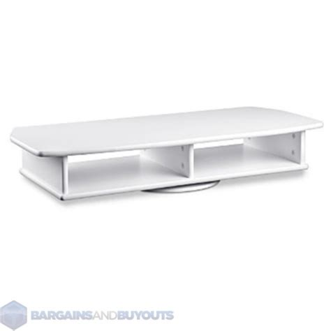 wide two shelf wooden tv swivel stand with white finish