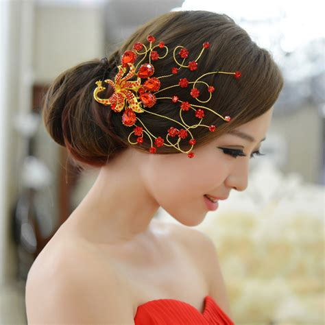 jual wedding hair accessories the bride wedding hair accessory formal dress red hair