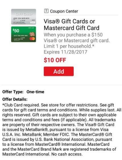 Randalls Gift Card Deals - expired safeway vons 10 off 150 visa mastercard gift card randall s albertson