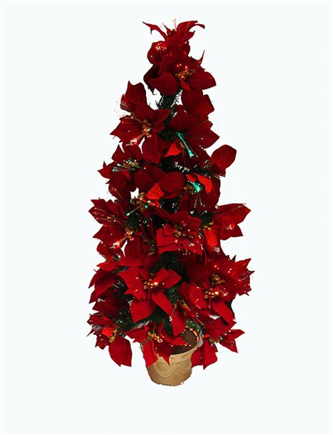 3 Pre Lit Fiber Optic Red Poinsettia Christmas Tree Poinsettia Tree Lights