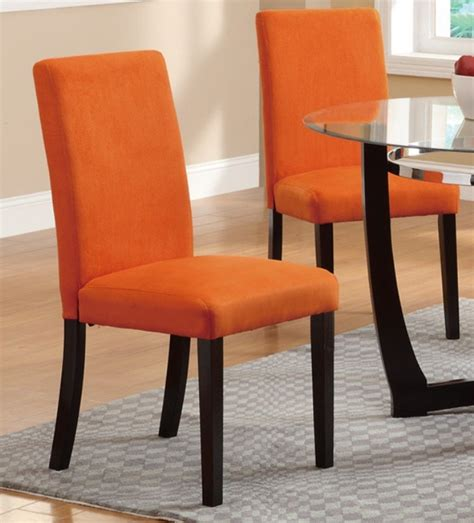 Fabric Parson Dining Room Chairs Poundex F1303 Parson Dining Chairs Orange Fabric