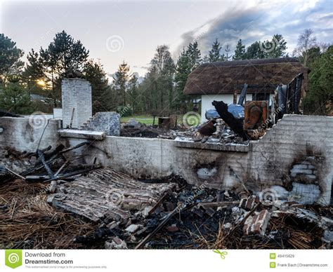 house burnt down house burnt down stock photo image 49415629