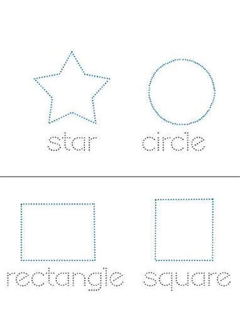 printable dotted line shapes printable shape practice sheets for kids