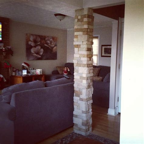 airstone tiles around a plain drywall column really add to