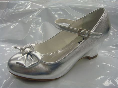 silver dressy shoes communion shoes wedge heels size 13 toddler 5 youth ebay