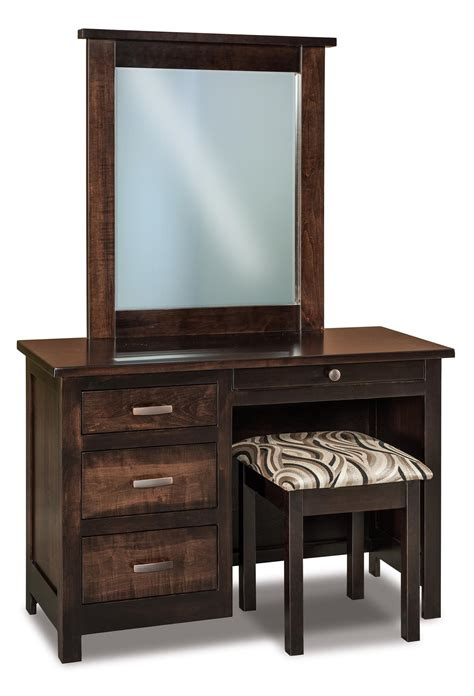 vanities with mirrors and benches amish flush mission four drawer vanity dresser from