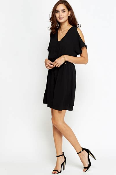 Dress Ketat Cut Shoulder black cut out shoulder skater dress just 163 5