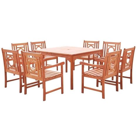 9 piece square patio dining set in natural v1401set14