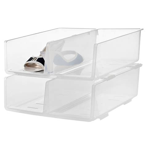 storage bins for shoes dnu pack of 2 stackable plastic shoe tidy containers
