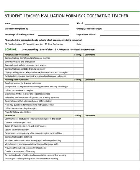 student assessment form template teaching evaluation form assessment notebook forms forms