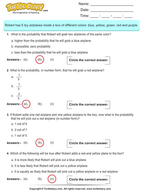Probability Worksheet Answers by Calculate The Probability Worksheet Turtle Diary