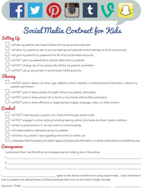 social media contract template imom offers new social media contract for printable