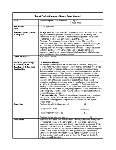 project summary template best photos of project report format sle project