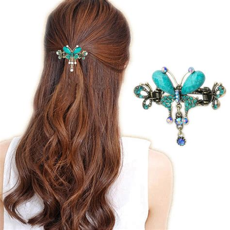hair barrettes clips women crystal hairclips barrette hair accessories elegant women turquoise butterfly flower hairpins vintage
