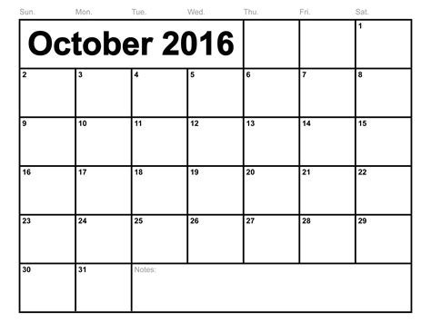 Downloadable Calendar October 2016 Printable Calendar Printable Calendar Templates