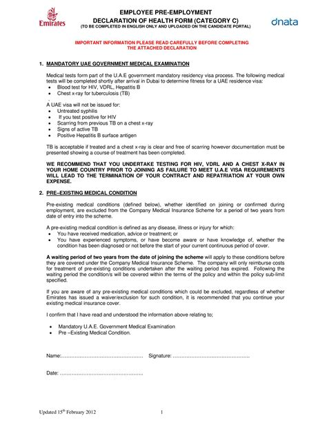 pre employment checklist template emirates pre employment examination form pdf