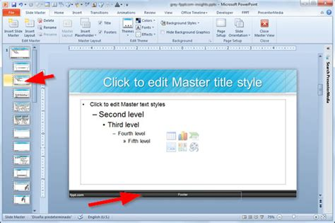 edit templates adding a footer to your powerpoint 2010 presentation