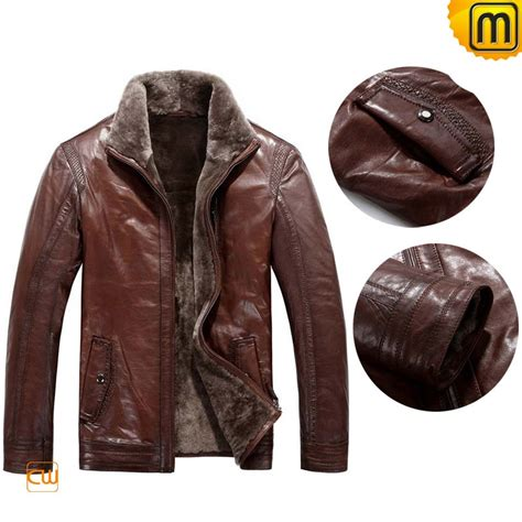 fur lined mens leather jacket cw819064