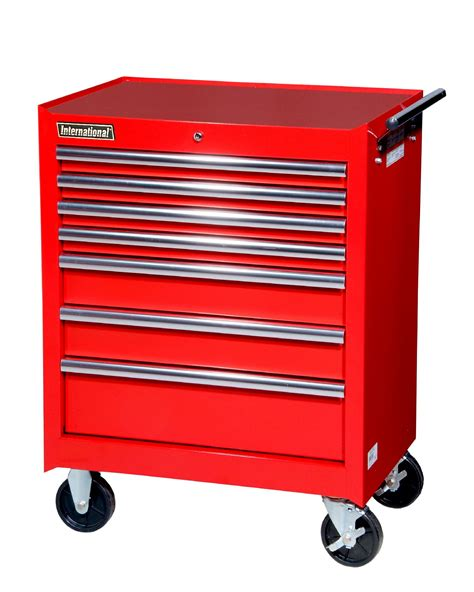 international red rolling cabinet secure tool storage at