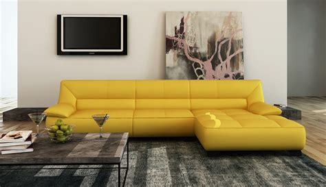 Yellow Sectional Sofa Divani Casa 5121b Modern Yellow Italian Leather Sectional Sofa