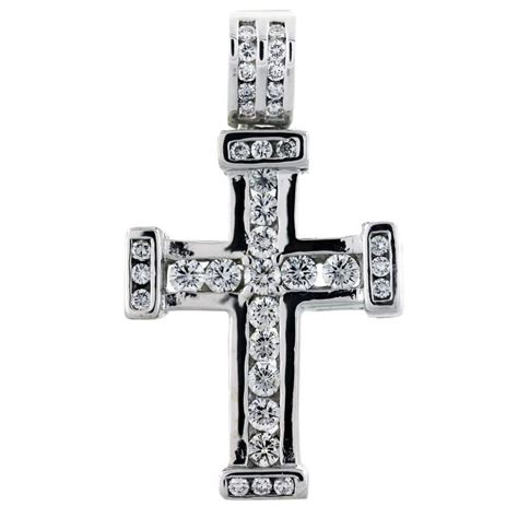 14k White Gold Cross Pendant 2 carat cross pendant 14k white gold boca raton