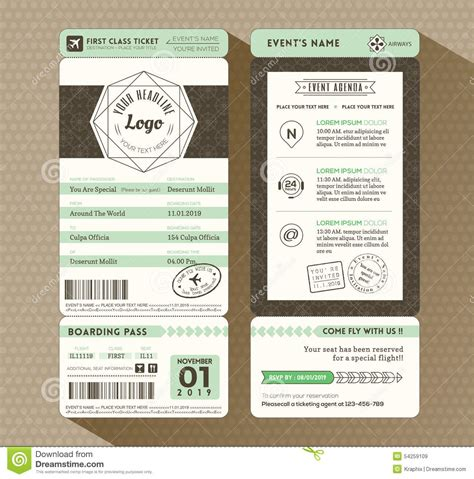 design tickets template design boarding pass ticket event invitation stock