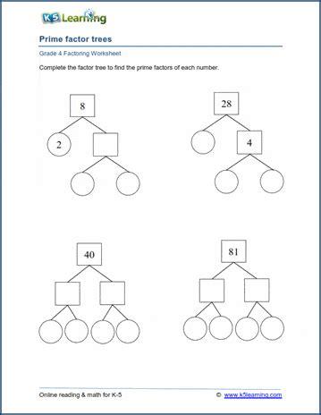 grade  factoring worksheets prime factor trees  learning