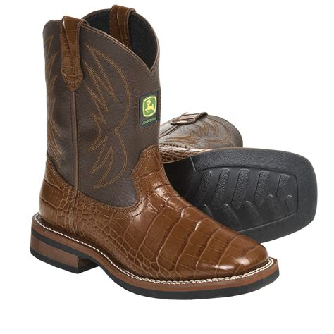youth boots deere footwear johnny popper croc print cowboy boots