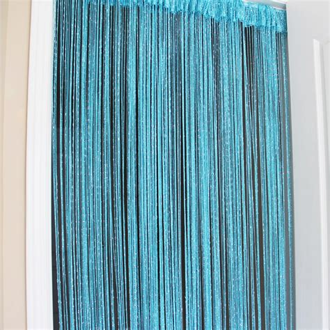 teal and silver curtains blue string curtain
