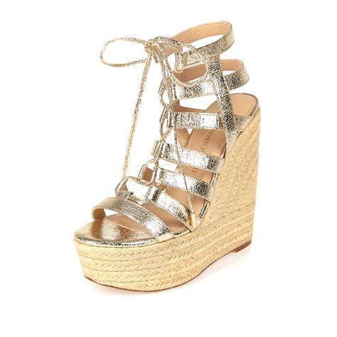 Wedges Gold Choco Lyst River Island Gold Gladiator Wedges In Metallic