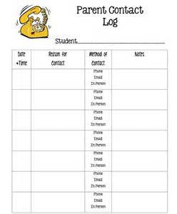 parent contact log and exit slip sheets