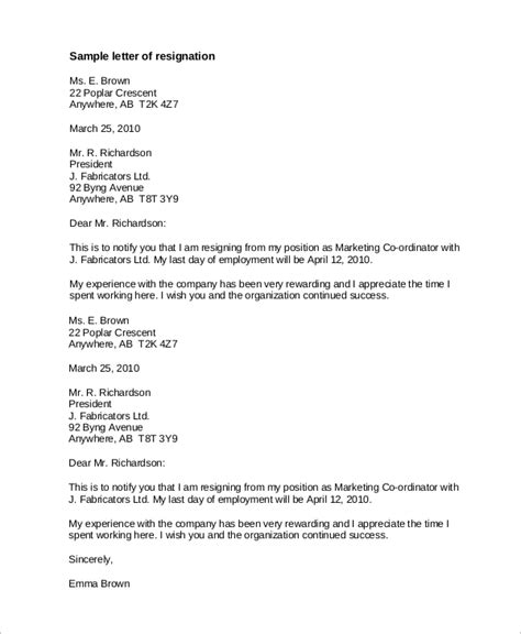 resignation letter  examples  word