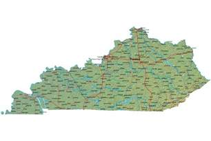 Ky State Map by Detailed Kentucky Map Ky Terrain Map