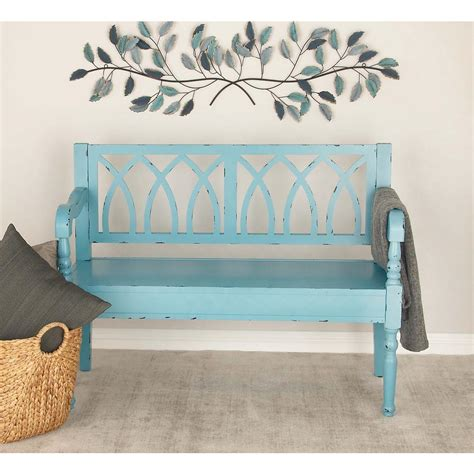 teal bench american home distressed teal wooden bench 60156 the home depot