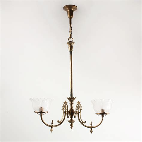Gas Chandelier Spectacular Antique Aesthetic Movement Gas Chandelier With Original Glass Shades C 1880