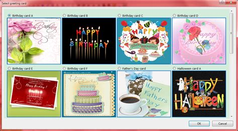 templates for greeting card inserts send automatic birthday and season s greetings screenshots
