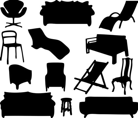 couch svg clipart furniture silhouettes