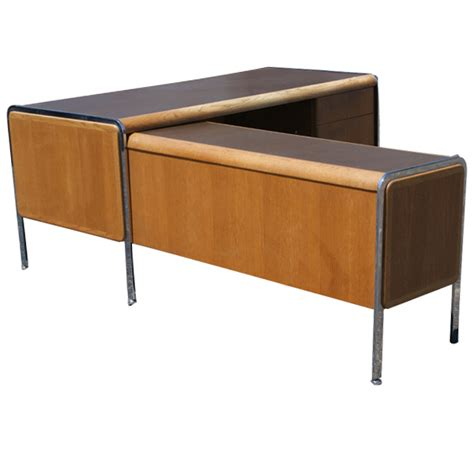Desk With Return by Vintage Norman Bates Wood Chrome Desk With Return