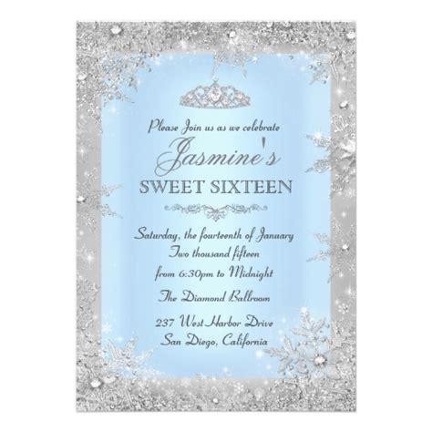 Sweet Sixteen Invitation Printable Sweet 16 Invites Blue Silver Winter Blue Sweet 16 Invitation Zazzle