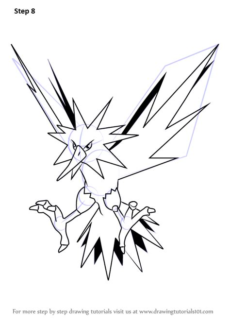 pokemon coloring pages zapdos learn how to draw zapdos from pokemon go pokemon go step