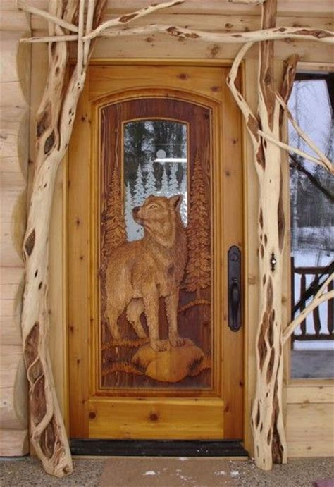 Cabin Entry Doors by Kabekona Wolfcedar Pine Door With Fully Carved Wolf Both