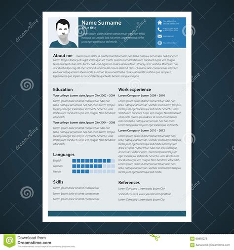 Resume Templates Vector Resume Template Stock Vector Image 69875079