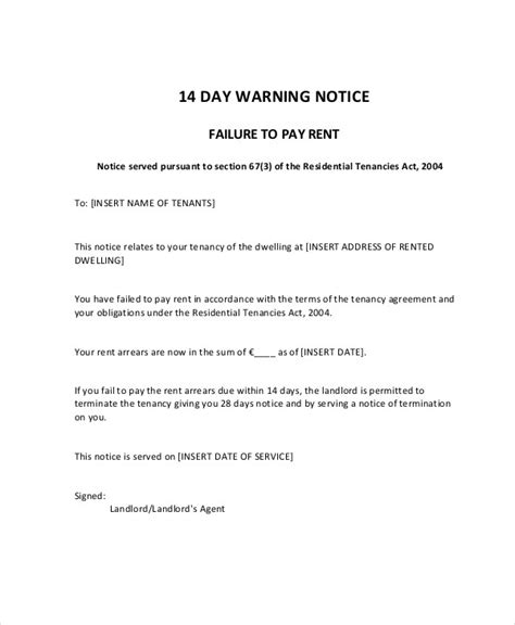 Rent Warning Letter 7 late rent notice exles sles