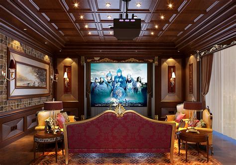 Theater Ceiling Design by Home Theater Interior Design With Wooden Ceiling