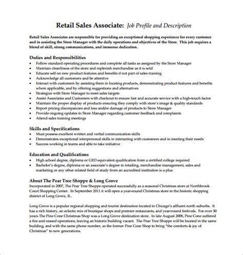 sales associate description template 8 free word