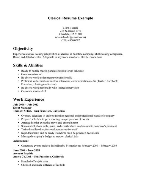 clerical resume template sample resumes for office work